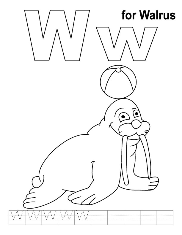 W for walrus coloring page with handwriting practice