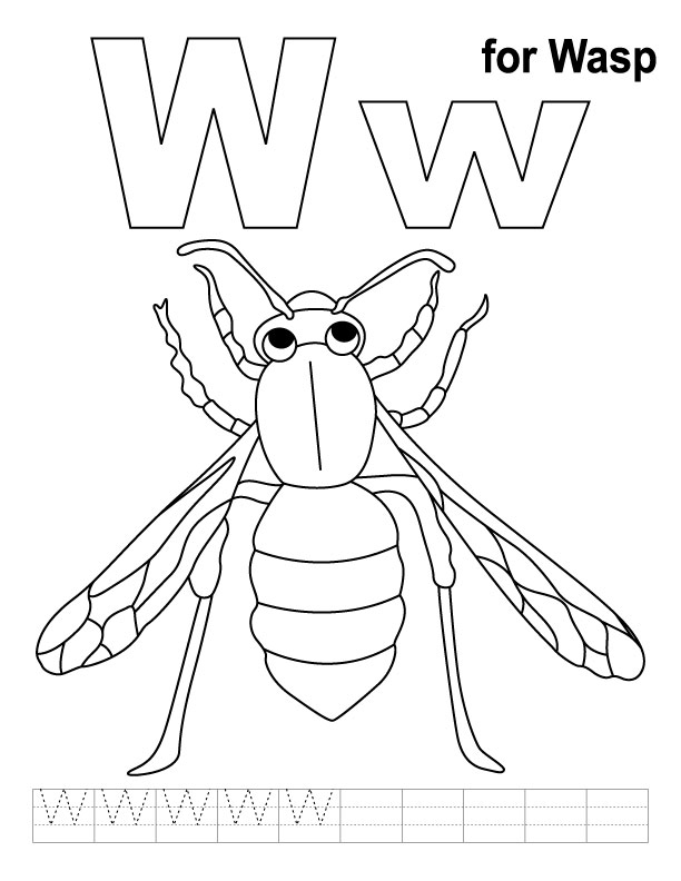W for wasp coloring page with handwriting practice