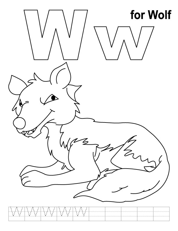 W for wolf coloring page with handwriting practice