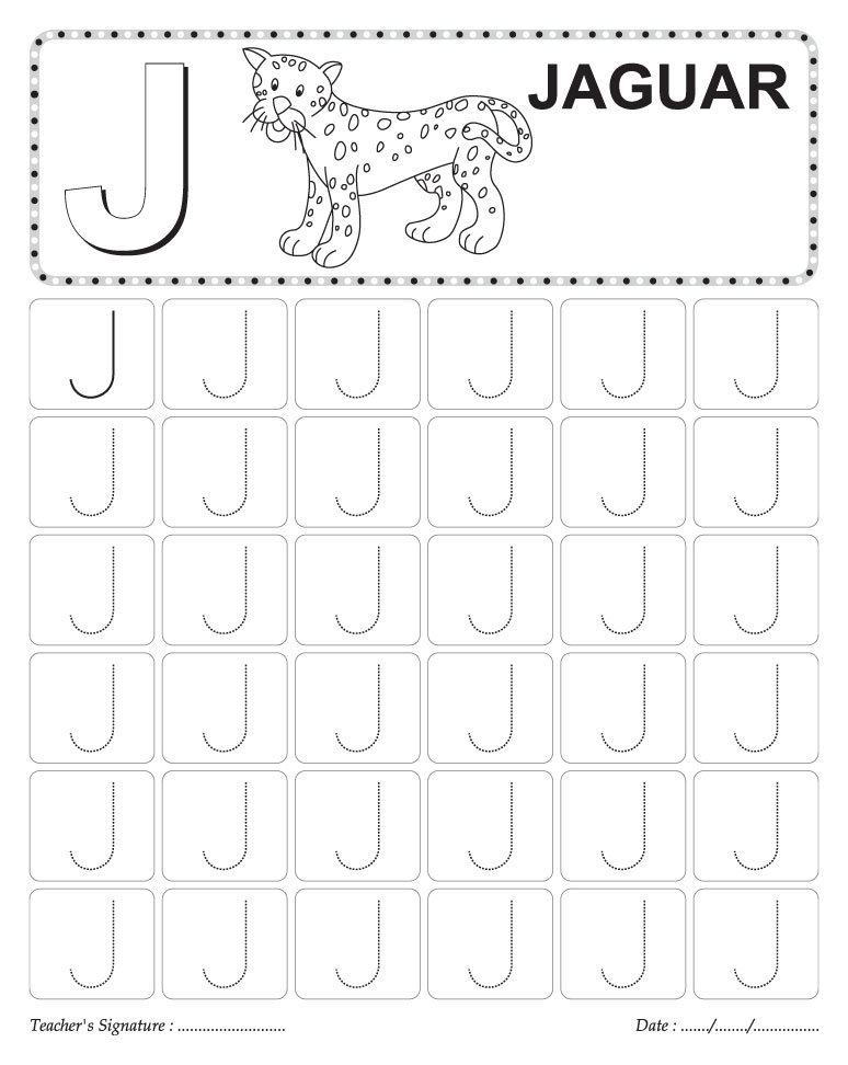traceable letter j Colouring Pages