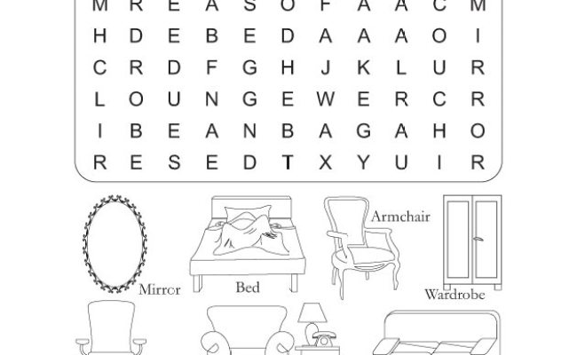 Preschool Word Search Puzzle Furniture Download Free