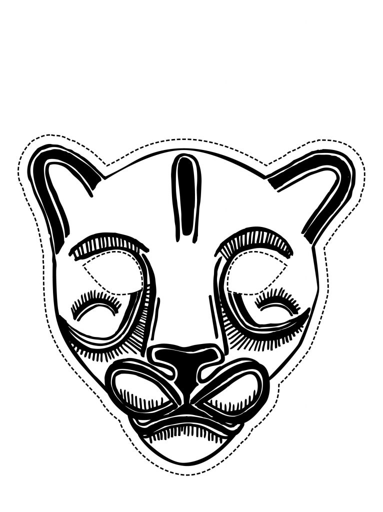 Free animal african masks coloring pages