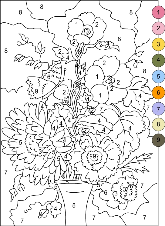 Free Printable Color By Number For Adults : printable, color, number, adults, Printable, Color, Number, Coloring, Pages