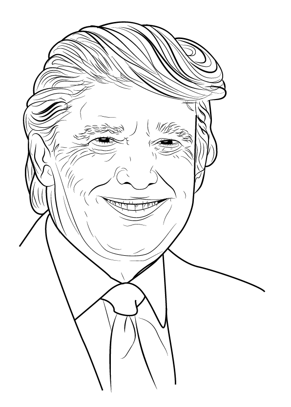 Trump Coloring Page : trump, coloring, Donald, Trump, Coloring, Pages