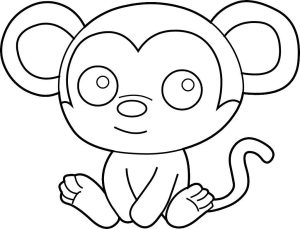coloring easy pages monkey
