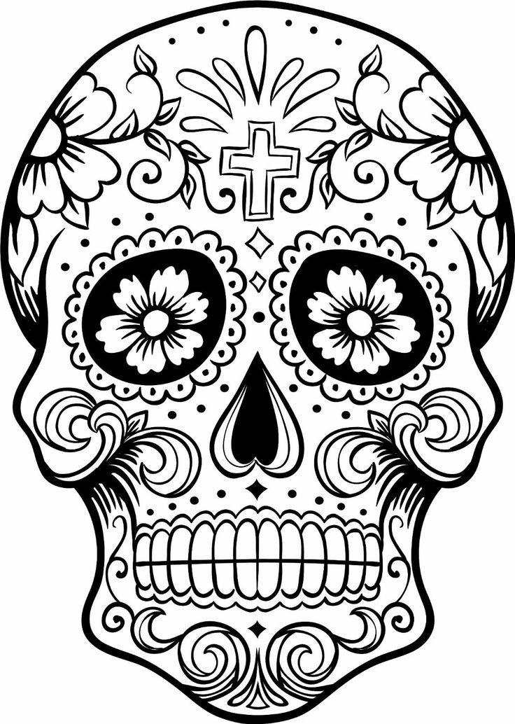 Sugar Skull Colouring Pages : sugar, skull, colouring, pages, Sugar, Skull, Coloring, Pages