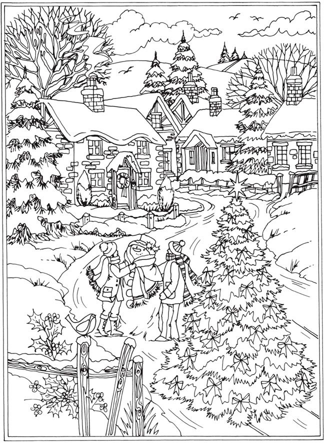 Winter Scene Coloring Page : winter, scene, coloring, Winter, Coloring, Pages, Adults
