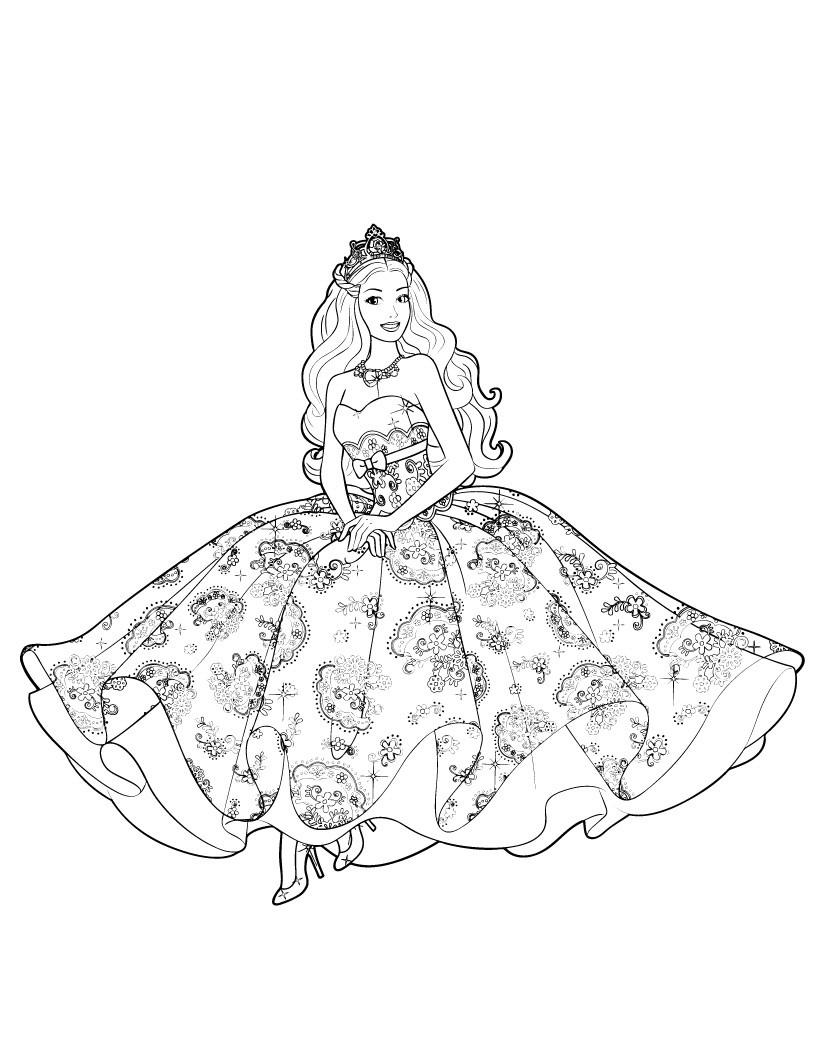 Princess Dress Coloring Page : princess, dress, coloring, Barbie, Princess, Coloring, Pages