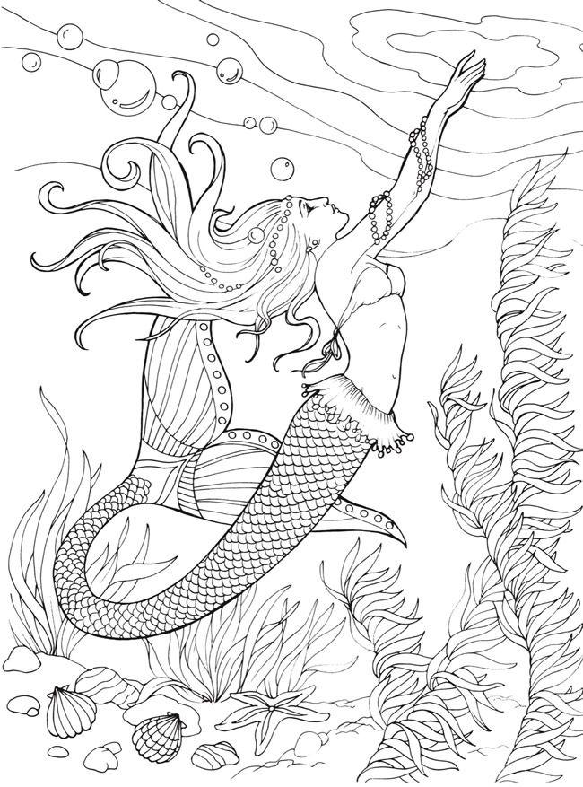 Printable Mermaid Mandala Coloring Pages Novocom Top