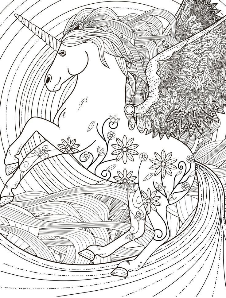 Adult Coloring Page Unicorn : adult, coloring, unicorn, Unicorn, Coloring, Pages, Adults