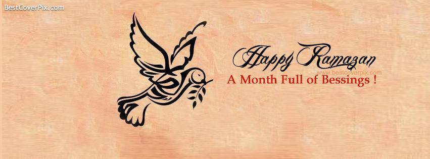 beautiful dove saying happy ramazan facebook cover