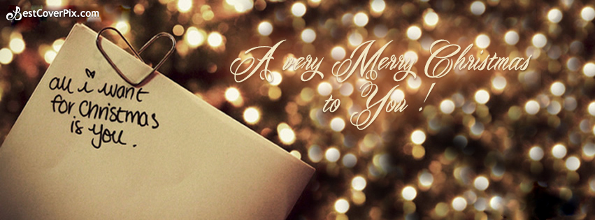 Merry Christmas To You Sparkling Love Facebook Cover Photo
