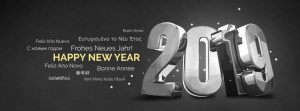 3D Silver Happy New Year 2019 Greeting Cover for Facebook profiles
