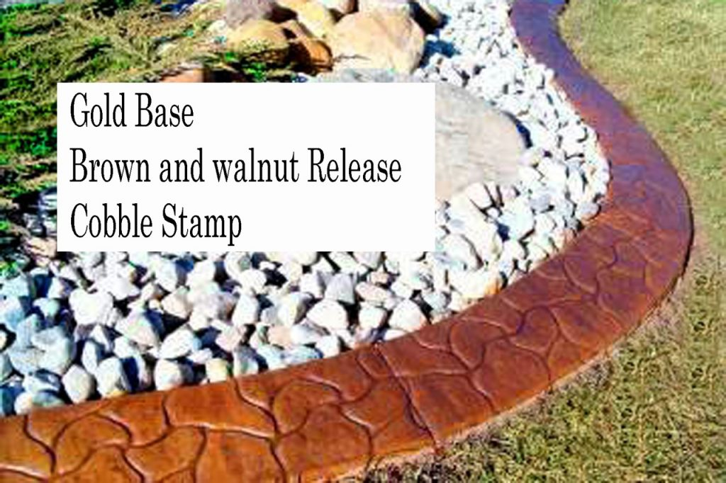 Base-  harvest gold  Release-  brown, walnut  Stamp- cobble curb