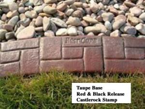 Base-  taupe  Release-  red, black Stamp- castlerock curb