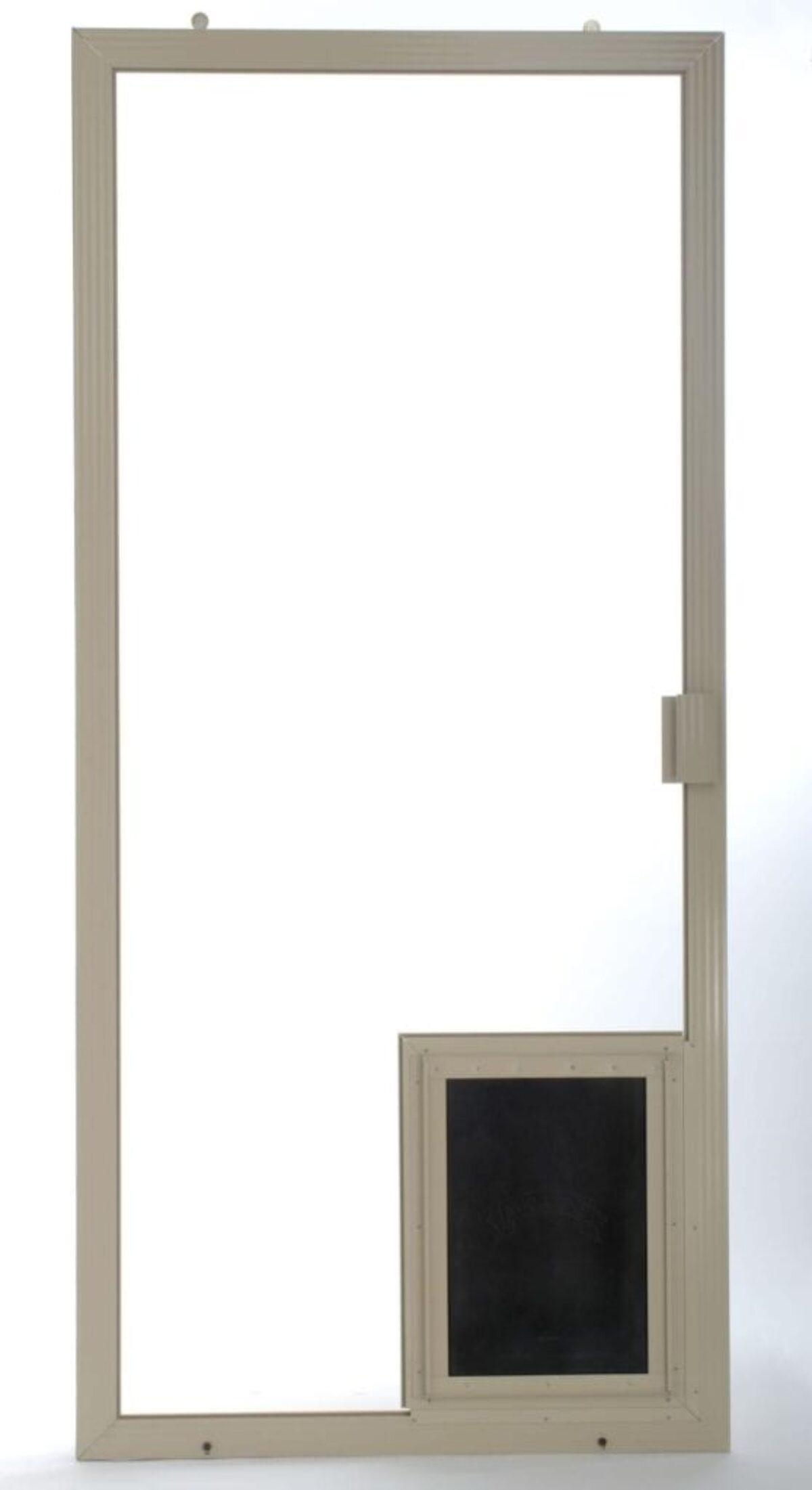 doggy door mounted on a heavy duty sliding screen door