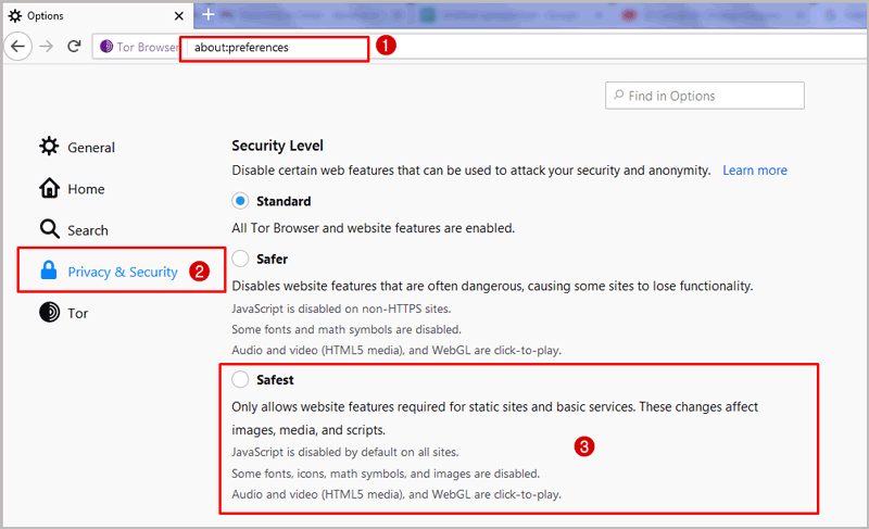 Tor Browser Security Settings