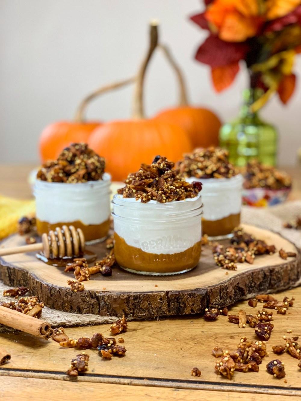 Pumpkin Pie Granola Yogurt Parfaits