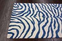 Blue Zebra Print Rug