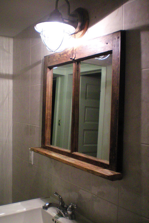 Rustic Bathroom Mirror With Shelf