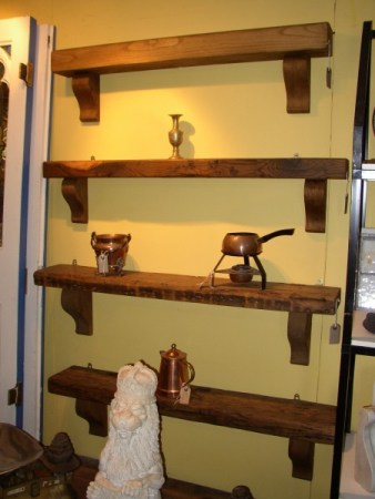 Rustic Overmantle Shelves