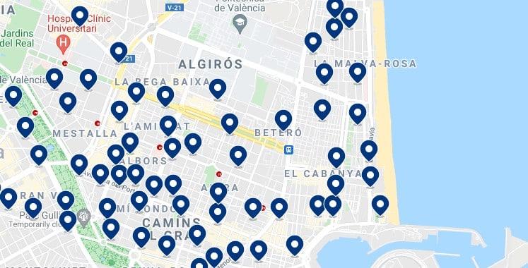 Alojamiento en Poblats Marítims - Clica sobre el mapa para ver todo el alojamiento en esta zona