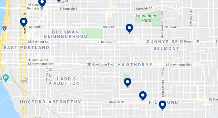 Accommodation in Buckham Neighborhood and around Hawthorn Boulevard - Click on the map to see all available accommodation in this area
