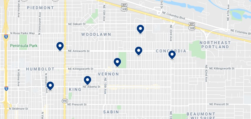Accommodation in the Alberta Arts District & Northeast Portland - Click on the map to see all available accommodation in this area