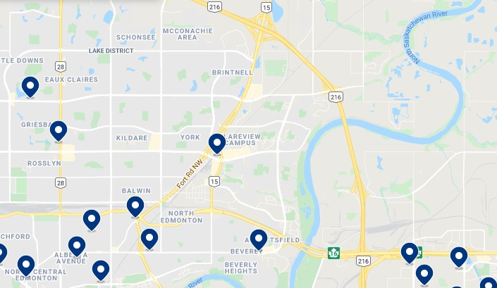 Accommodation in Northeast Edmonton - Click on the map to see all available accommodation in this area