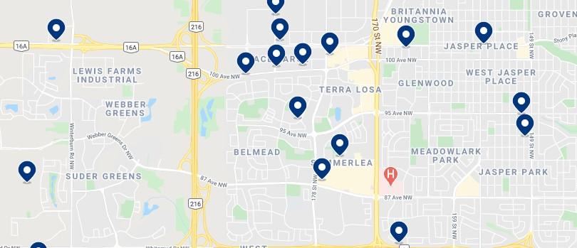 Accommodation in West Edmonton - Click on the map to see all available accommodation in this area