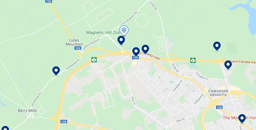 Accommodation around Magnetic Hill - Click on the map to see all available accommodation in this area