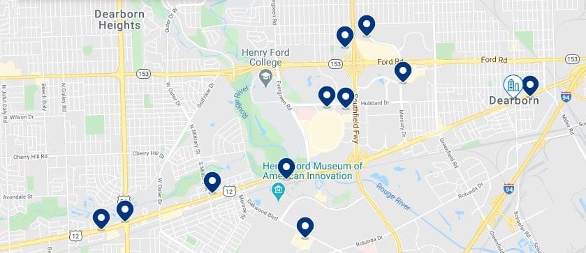 Alojamiento en Dearborn - Clica sobre el mapa para ver todo el alojamiento en esta zona