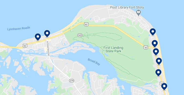 Accommodation in North Virginia Beach - Click on the map to see all available accommodation in this area