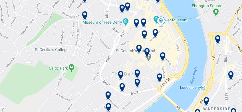 Accommodation in Derry City Centre - Click on the map to see all the accommodation in this area