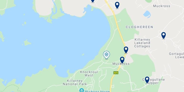 Accommodation in Muckross - Click on the map to see all the accommodation in this area