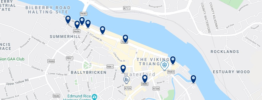Accommodation in Waterford City Centre - Click on the map to see all the accommodation in this area