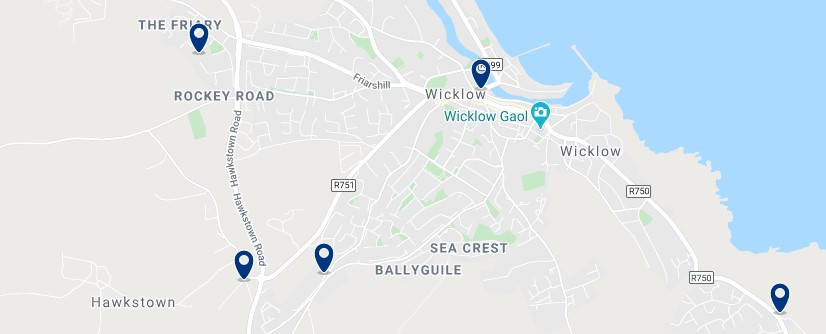 Accommodation in Wicklow Town - Click on the map to see all the accommodation in this area