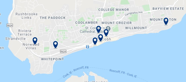 Accommodation in Cobh - Click on the map to see all the accommodation in this area