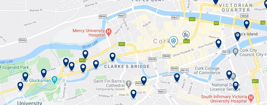Accommodation in Cork City Centre - Click on the map to see all the accommodation in this area