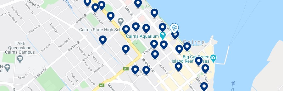 Accommodation in Cairns CBD - Click on the map to see all the accommodation in this area