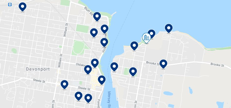 Accommodation in Devonport CBD - Click on the map to see all the accommodation in this area