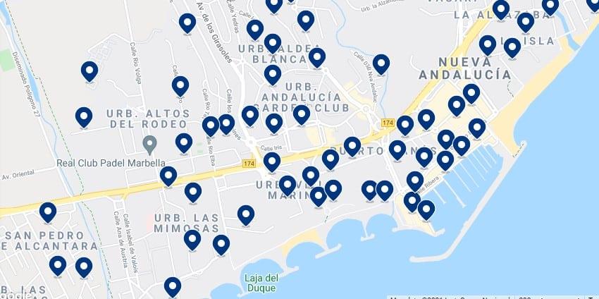 Alojamiento en Puerto Banús - Haz click en el mapa para ver todo el alojamiento disponible en esta zona