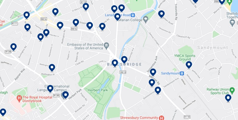 Accommodation in Ballsbridge - Click on the map to see all the available accommodation in this area