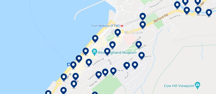 Accommodation in Fort William Town Centre - Click on the map to see all the available accommodation in this area