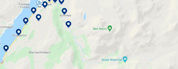 Accommodation near Ben Nevis - Click on the map to see all the available accommodation in this area