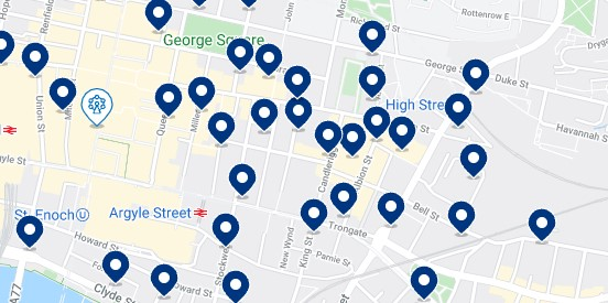 Accommodation in Merchant City, Glasgow - Click on the map to see all the available accommodation in this area