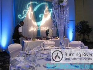 A true collaboration! Lighting by Burning River Entertainment, Decor by Breathtakers Events, Venue by LaCentre. (Photo Credit: Gene Natale, Jr. / Burning River Entertainment)