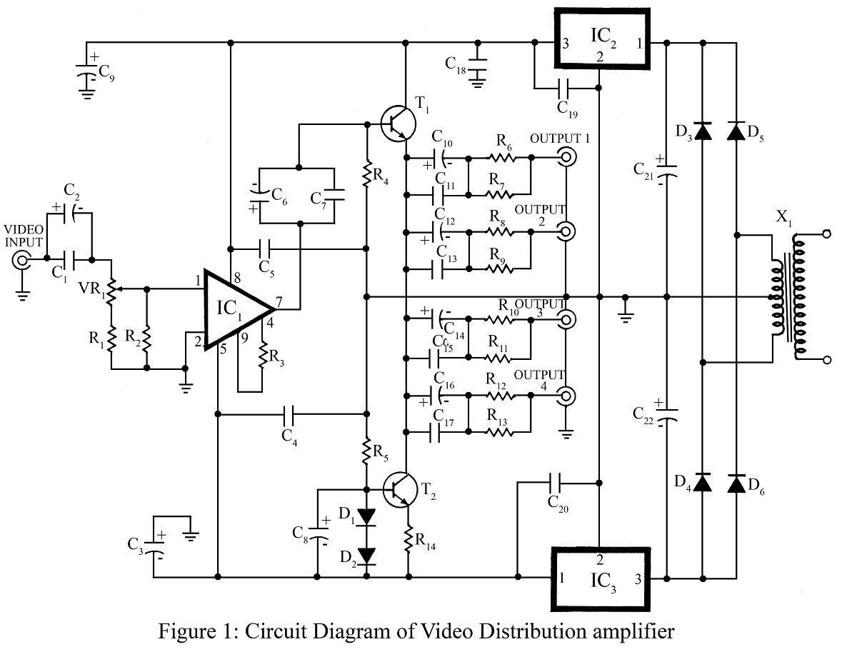 hight resolution of the regulated 5v and 5v from regulators 7805 ic2 and 7905 ic3 powers the entire circuit