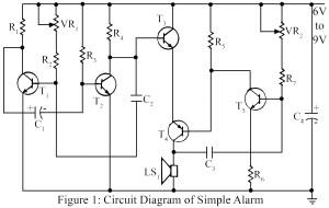Circuit diagram of transistorise warning alarm