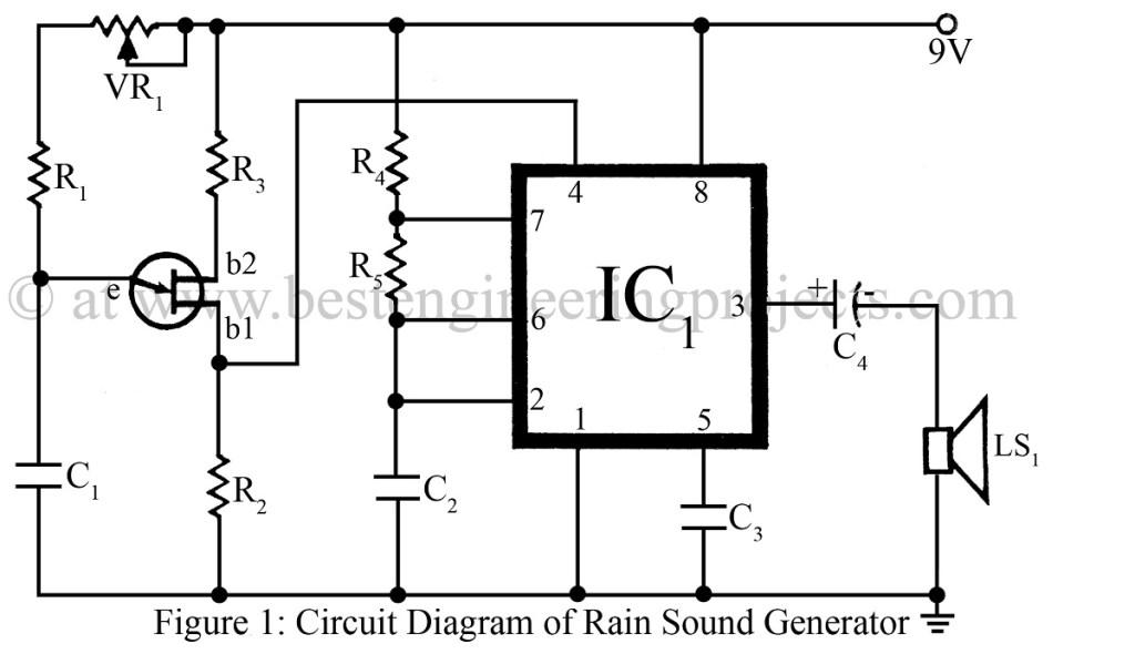 circuit diagram of rain sound generator